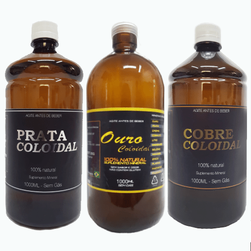 Cobre, Prata e Ouro Coloidal - Kit com 3 litros